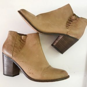 Very Volatile Leather Tan Booties Size 9